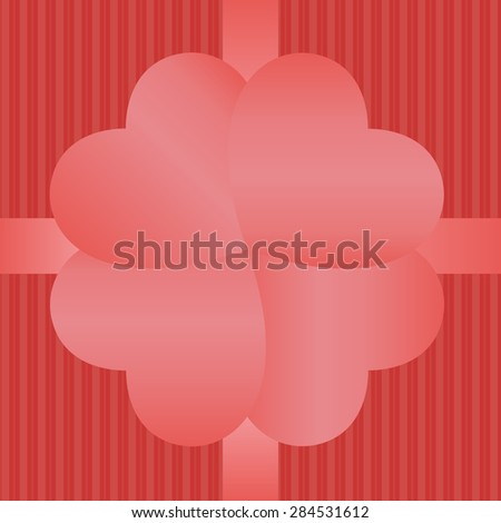 Heart Valentine's day card. Wedding card. Gift box and heart symbol