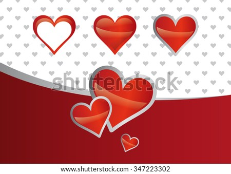 Heart Valentine vector set with wallpaper in background