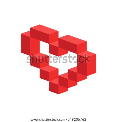 Heart vector 3d isometric icon. Heart logo, heart shape. Togetherness concept. Together logo. Heart logo. Heart icon. Love, health doctor and wedding symbol. Valentine Day icon - stock vector