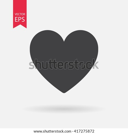 Heart vector icon, Love symbol. Valentine's Day sign, emblem isolated on white background, Flat style for graphic and web design, logo. EPS10