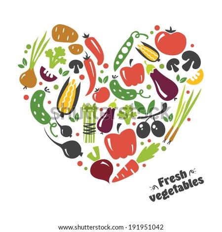 heart vegetables set - stock vector