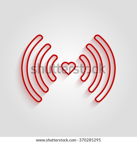 Heart Wifi Vector Connect Icon Stock HD Royalty Free 370285295