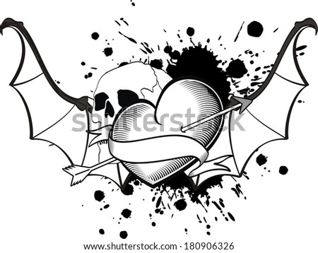 heart winged bat t-shirt tattoo in vector format very easy to edit