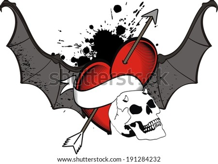 Bat Heart Heart Wings Bat Tattoo Sticker