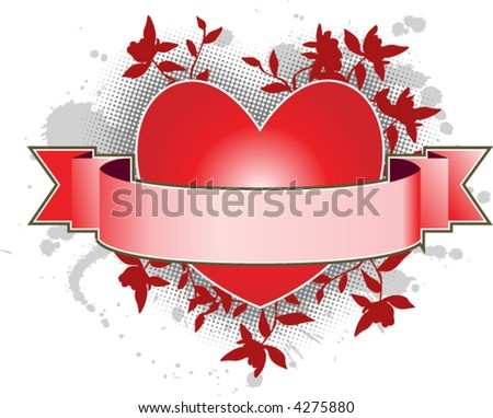 Heart with a banner to add text with light gray ink splat background vector - stock vector