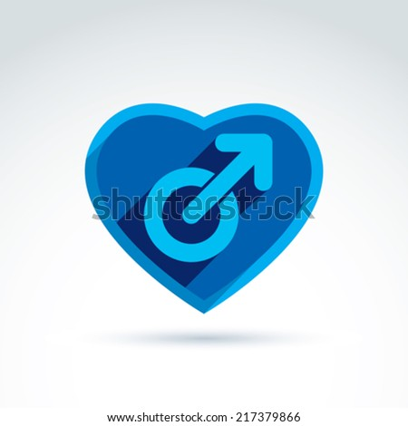 Heart with a blue male man gender symbol. Lesbian club conceptual icon �¢?? chat on a relationship theme.  - stock vector