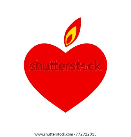 Heart With A Flame Valentine Simbol Vector Illustration