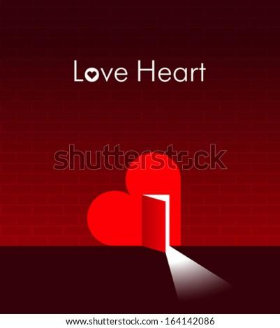 Heart with an open door in it. Creative illustration - stock vector