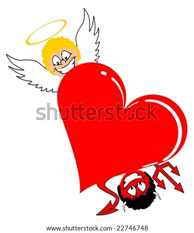 heart with angel and devil vector file