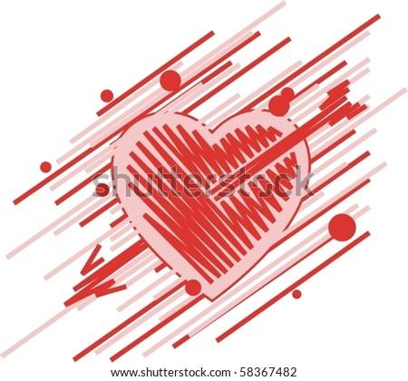 heart with arrow - stock vector