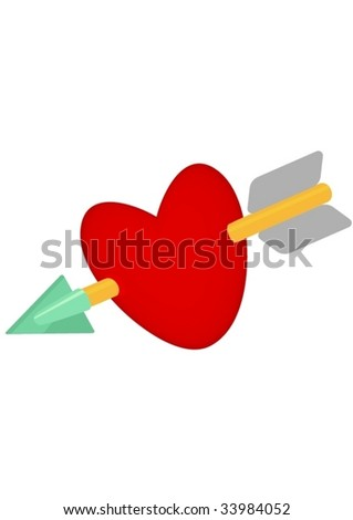 Heart with arrow.Isolated Abstract Vector Illustration
