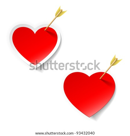 heart with arrow sticker - stock vector