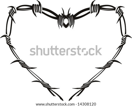 heart barbed wire stock vector 14308120 shutterstock. Black Bedroom Furniture Sets. Home Design Ideas