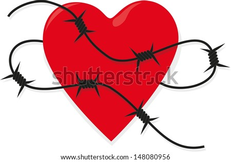 Heart with barbed wire - stock vector