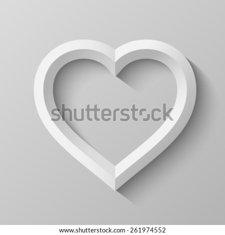 Heart with bevel - stock vector