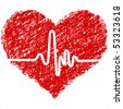 heart with cardiogram - stock vector
