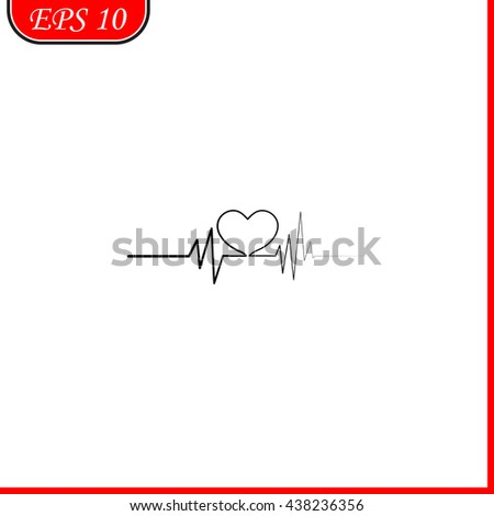 Heart with cardiogram. Icon. Heart with cardiogram. Icon Vector. Heart with cardiogram. Icon JPEG. Heart with cardiogram. Icon Object. Heart with cardiogram. Icon Picture. - stock vector