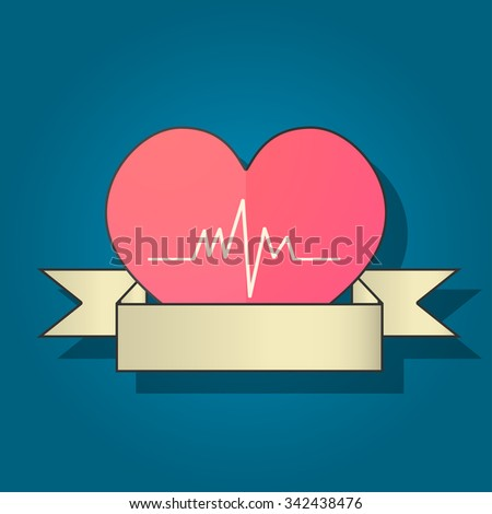 Heart with cardiogram icon, modern minimalistic flat design, world heart day - stock vector
