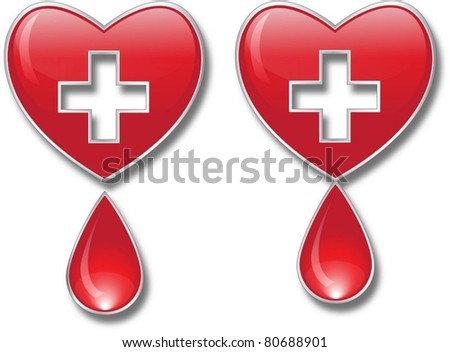 heart with cross and drop of blood - stock vector