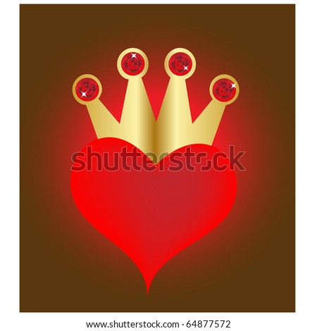 heart with crown.Vector - stock vector