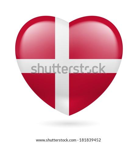 Heart with Danish flag colors. I love Denmark - stock vector