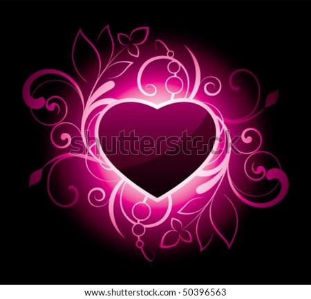 Heart with decorative elements on black background - stock vector