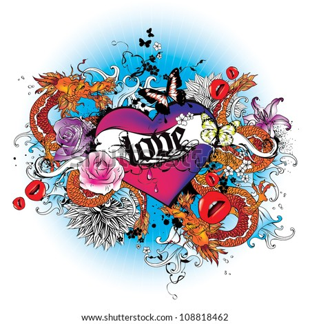 Heart with dragons and flowers tatoo style graphic - stock vector
