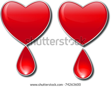 heart with drop of blood - stock vector