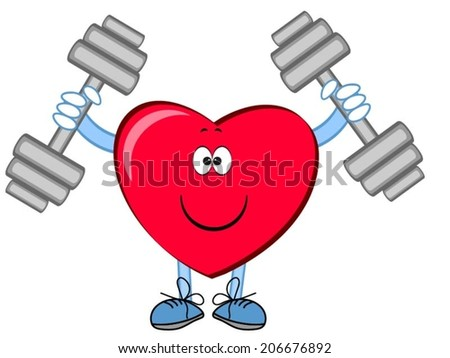 Heart with dumbbells . - stock vector