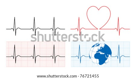 Heart with ecg and earth with ekg line - stock vector