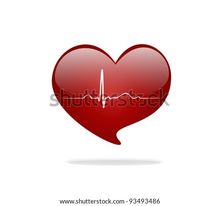 Heart with EKG signal. Valentine's Day. Vector Illustration. - stock vector
