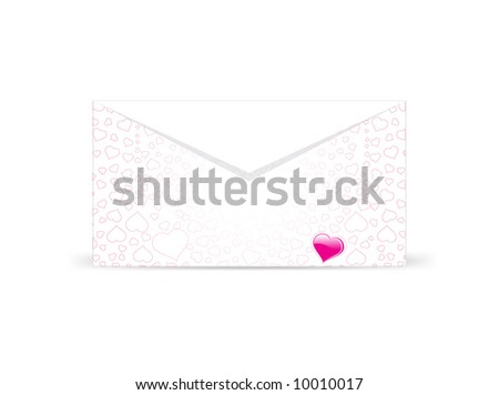 heart with envelope vector illustration