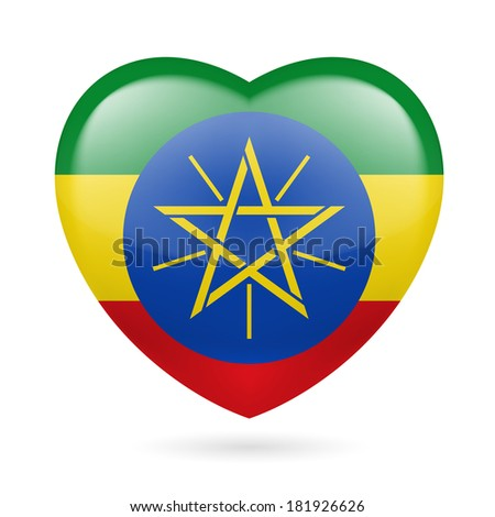 Heart with Ethiopian flag colors. I love Ethiopia