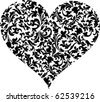 heart with floral - stock vector