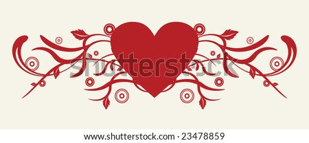 Heart with floral design vector
