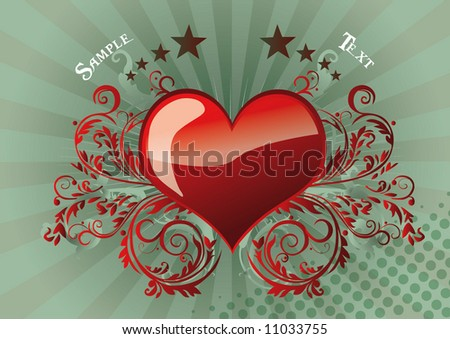 Heart with floral ornament in design background