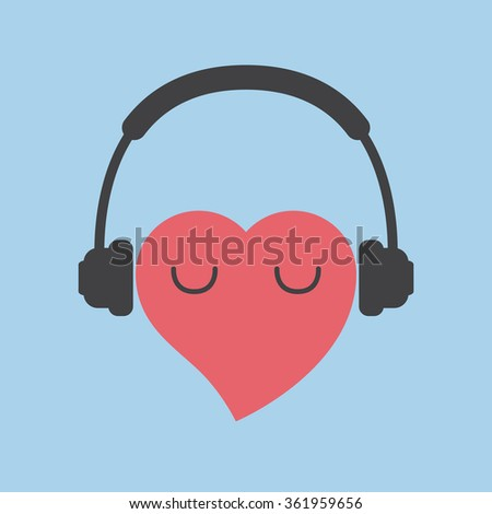 heart with headphones - stock vector