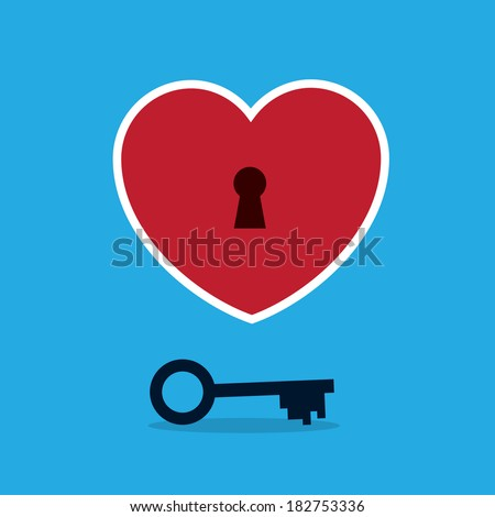 Heart with keyhole and key  - stock vector