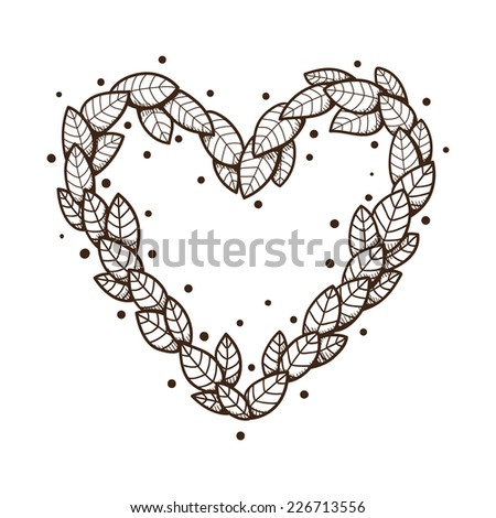 Heart with leaves and flowers. Sketch design element isolated on white. Eps 10 vector illustration. - stock vector