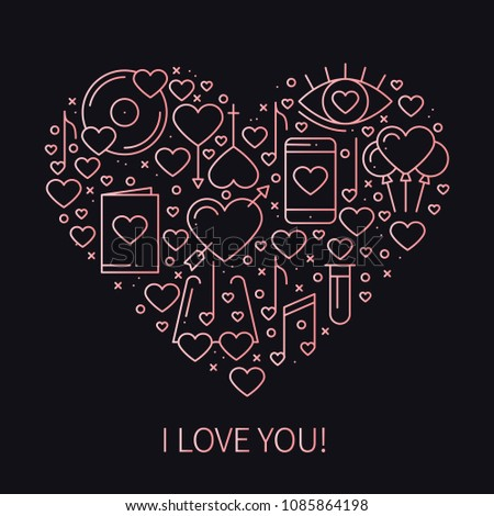 Heart Love Symbols Line Style Love Stock Vector 1085864198