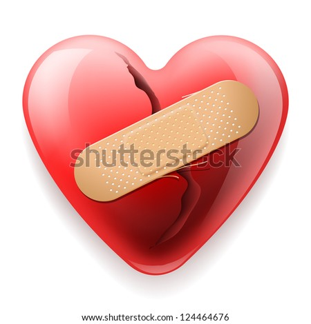 Heart with plaster isolated on white background