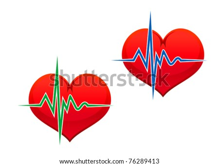 Heart with pulse graph as a medicine concept. Jpeg version also available in gallery - stock vector