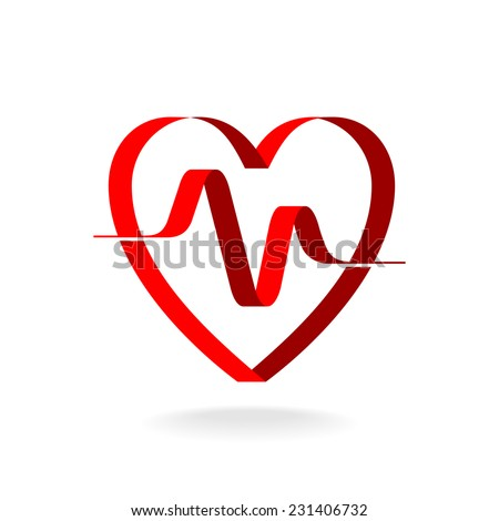 Heart with pulse ribbon logo template. Cardiology medical sign. - stock vector