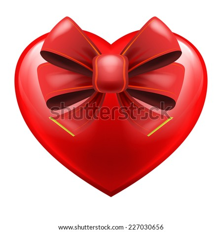 heart with red festive bow wrapping vector isolated illustration - stock vector