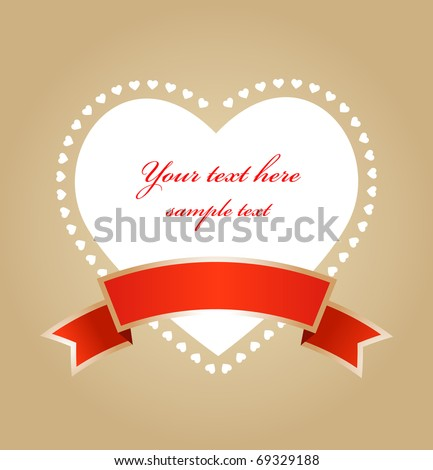 Heart with ribbon - greetings card for Valentines day - stock vector