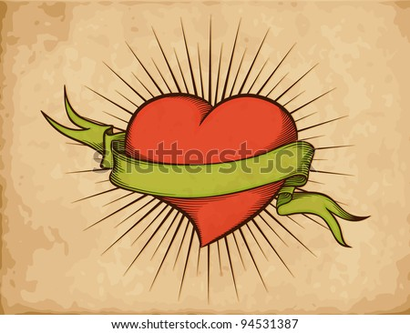 Heart with ribbon in tattoo style on old paper. Woodcut vector eps10 - stock vector