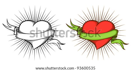 Heart with ribbon in tattoo style symbolizing Love. The color and black-and-white image. - stock vector