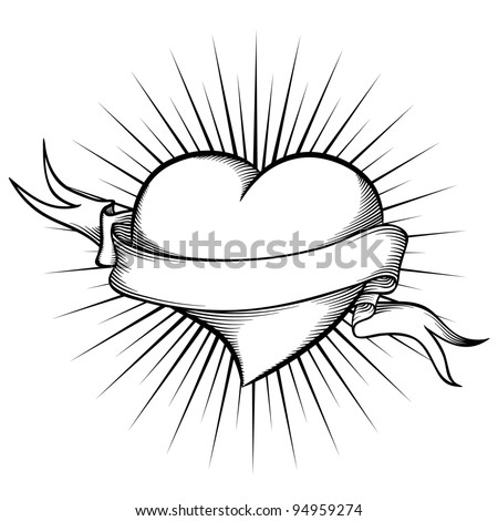 Heart with ribbon in tattoo style. Vector illustration - stock vector