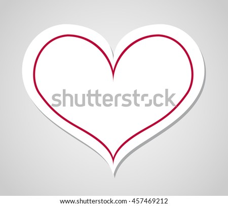 Heart with shadow - stock vector