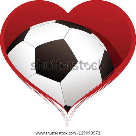 Heart with Soccer Ball Inside